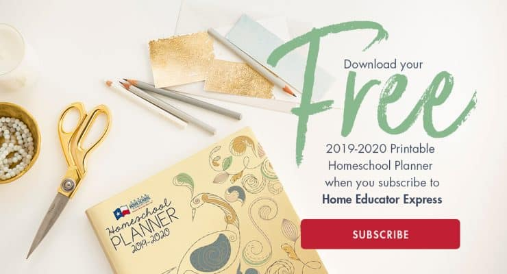 Subscribe to the Home Educator Express and receive a free downloadable planner!