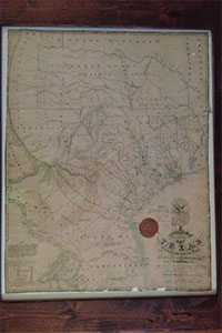 Custom-Framed Vintage 1831 Map of Texas