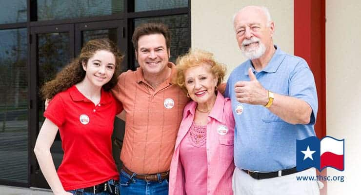 Family at the voting booth