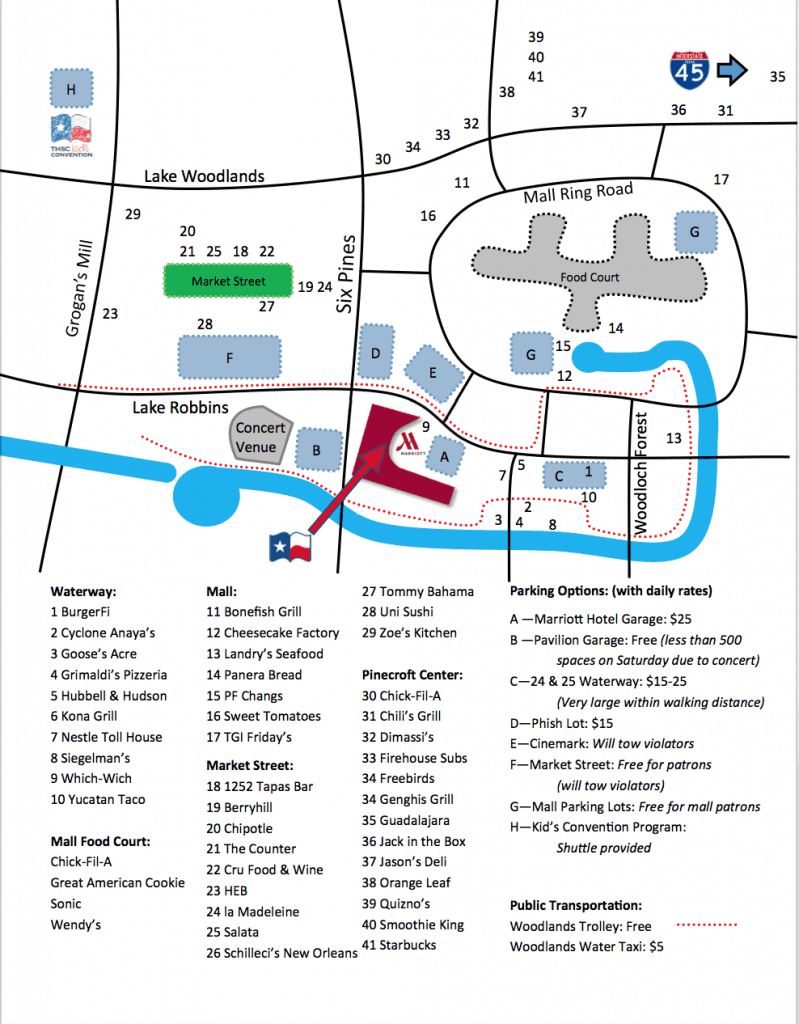 The Woodlands parking map
