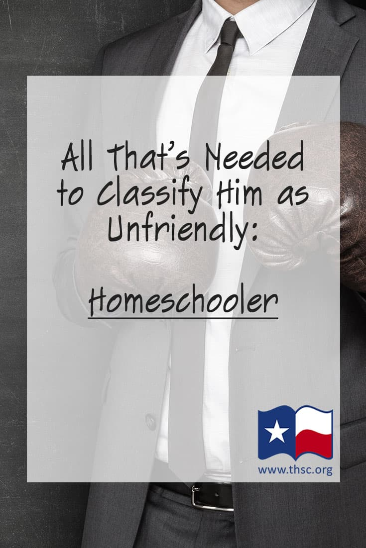 All That's Needed to Classify Him as Unfriendly: Homeschooler