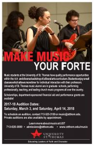University of St. Thomas Auditions for 2018-19 Music Studies
