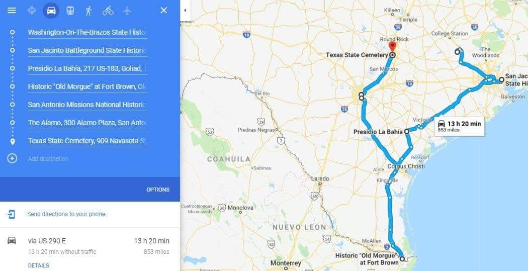 The Road Map from Spain to Texas