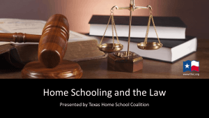 Homeschooling and the Law, by Tim Lambert, hosted by: SACHSA – San Angelo Christian Home School Association
